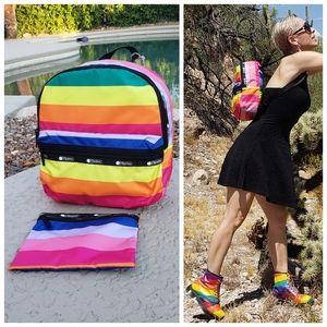2 x Lesportsac NWT rainbow backpack + cosmetic bag